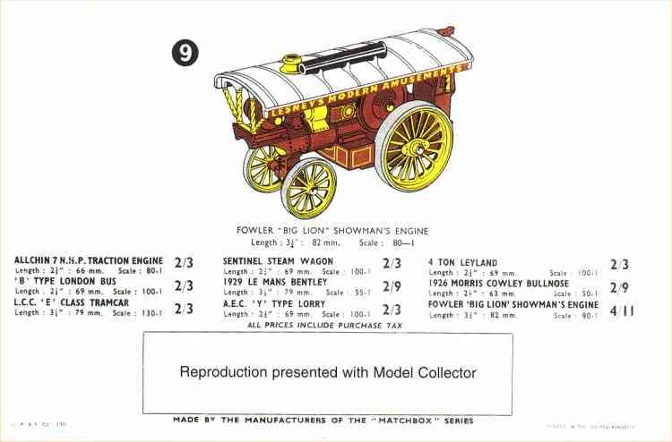 Matchbox 1958 catalogue
