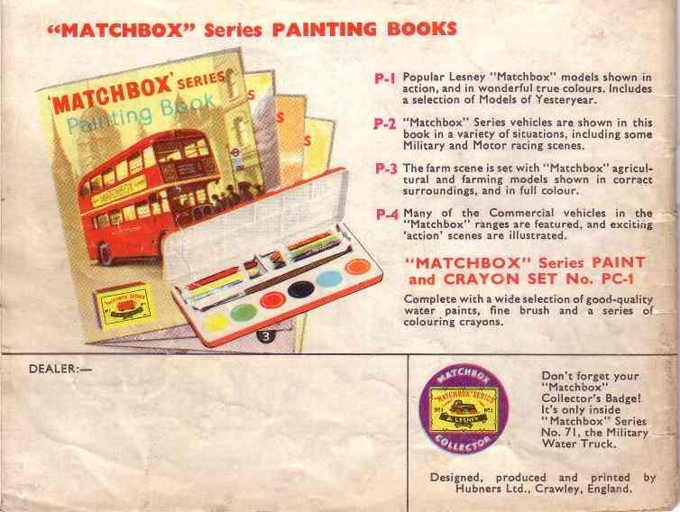 Matchbox 1961 catalogue